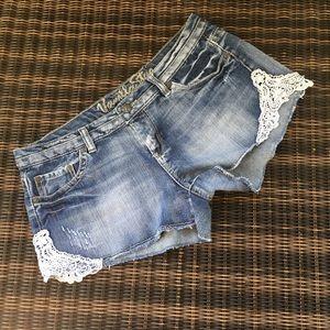 Vanilla Star lace cut off distressed shorts